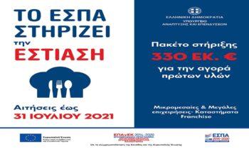 """ΕΣΠΑ: Χρηματοδοτηση """"Ανασα"""" για τη λειτουργια της εστιασης την καλοκαιρινη σεζον 2021"""